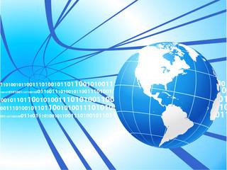Globe on internet background