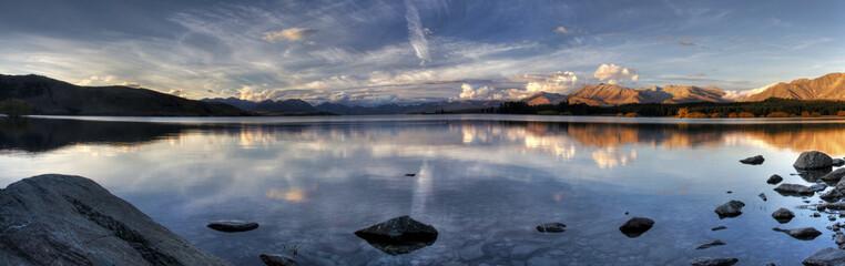 Lake Sunset Panorama in New Zealand