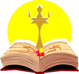 Illustration of a divine lamp and religious book