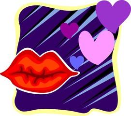 Illustration of lips in a designed violet colour background