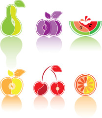 Colourful set from the stylised fruit