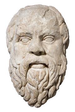 Stone head of the greek philosopher Socrates