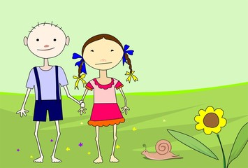Illustration of two children in green colour background
