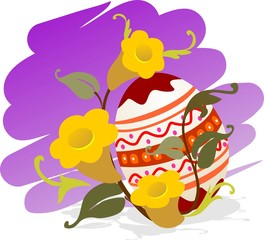 Illustration of easter eggs with flower