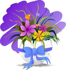 Illustration of easter flower in colour background