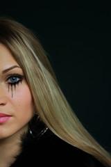 beautiful blonde in fur coat