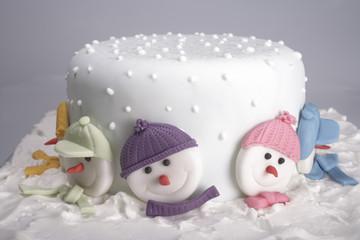 hat shaped Christmas cake isolated on white background