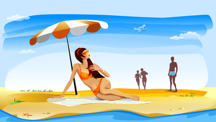 Girl getting a suntan on the beach
