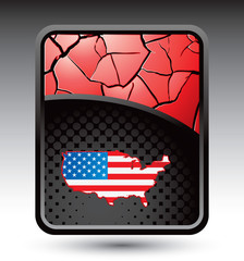 american flag red cracked background
