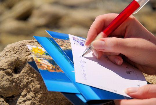 Ansichtskarte schreiben - writing a picture postcard 05