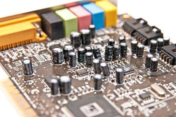 closeup view at part of computer sound board