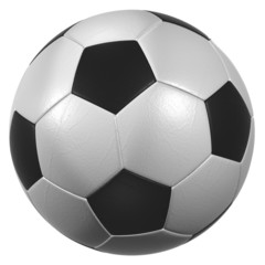 leather soccer ball high resolution isolated on a white