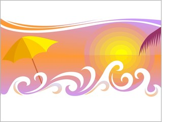 Illustration of holiday background and umbrella in colour