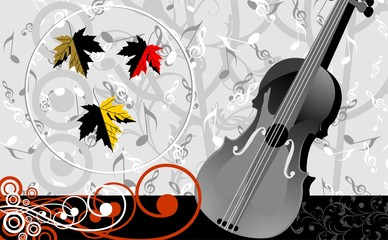 Violin and maple leaf