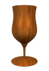 3D illustration of a wood cup