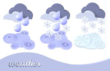 weather symbol snow, rain, cloud
