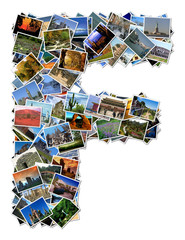 All over the world photo font F with 210 original pictures
