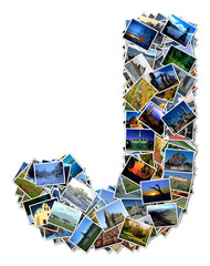 All over the world photo font J with 210 original pictures