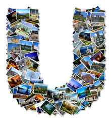 All over the world photo font U with 210 original pictures