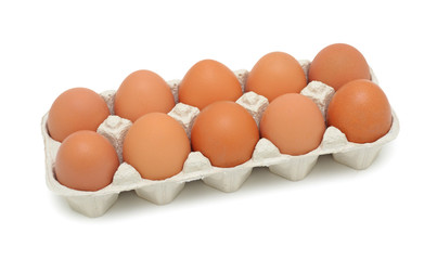 Fresh brown eggs, isolated on white