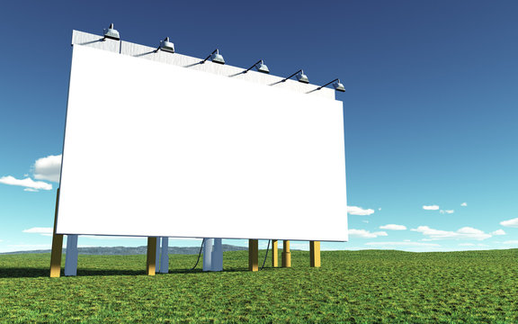 An illustration of a big white advertising wall