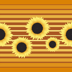 Seamless background with sunflowers