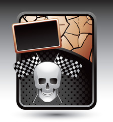 racing flags and skull bronze cracked template