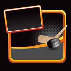 hockey stick and puck stylized black advertisement