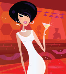Sexy retro woman in night club. Vector Illustration.