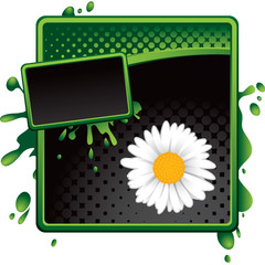daisy flower green and black halftone grungy ad