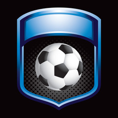 soccer ball blue shiny display