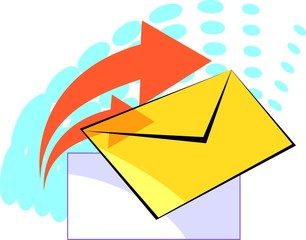 Illustration of letter and paper in colour background