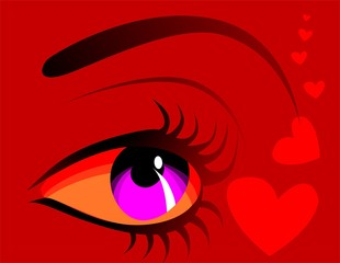 Illustration of Eye and heart in red colour