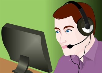 Illustration of Computer with head phone