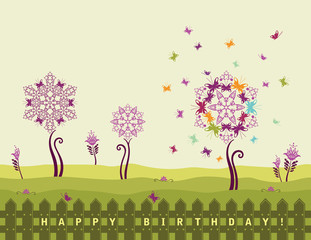Happy birthday card with flowers
