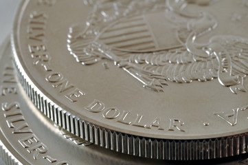 two U.S. Silver Eagle coins