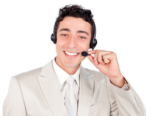 Charismatic ethnic businessman with headset on