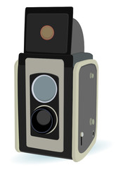vintage camera with two lens in vector mode