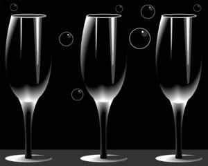 Illustration of three wine glass