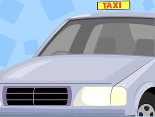 Illustration of taxi car in colour background