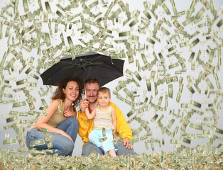 family wih little girl with umbrella under dollar rain collage