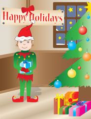 Christmas Elf in a holidays interior