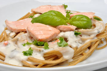 steamed wild salmon steak with home made pasta