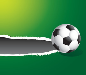 soccer ball green ripped banner