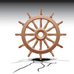 ship wheel cracked ground