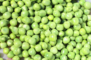 Close up shot of organic green peas