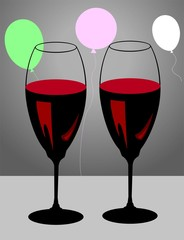 Illustration of two wine goblets