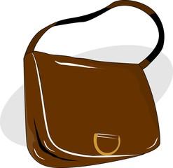 Illustration of brown ladies bag on white background