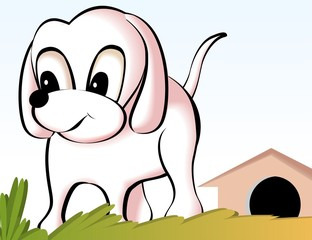 Illustration of a cartoon puppy in front of kennel