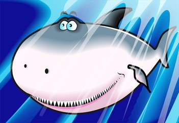 Illustration of a  cartoon shark with angry face